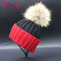 Color Patchwork Beanies Hats 2016 New Genuine Raccoon Fur Caps 15cm Big Ball Winter Curling Knitting Hat Warm Wholesale ZZM008