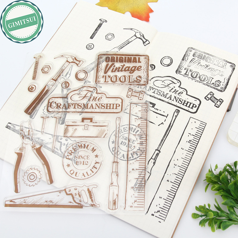 Tradesman Tool Saw Hammer Nail Silicone Clear Rubber Stamps Seal Scrapbooking Original Vintage DIY Paper Craft Album Diary