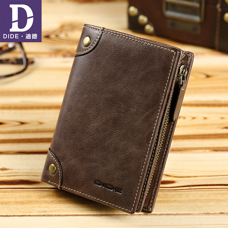 DIDE High Quality Vintage Wallets male purse men's genuine leather Wallet Zipper Coin Purse card holder famous brand male bag