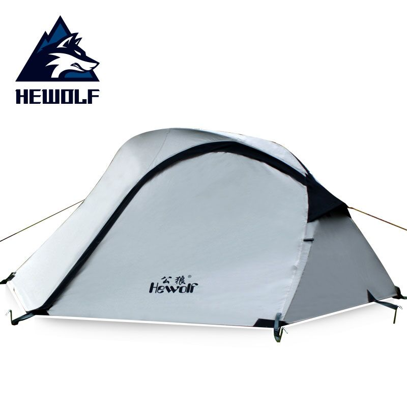 Hewolf Outdoor Camping Tent 2 Person Ultralight Fish Shape Hiking Tent for Camping Fishing Beach Party Tent 200cm*140cm*110cm outdoor waterproof folding ultralight camping tent 1 2 person double door fishing tourist tent beach tent hiking family tent