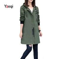 Yzeqi Autumn Women Windbreaker Coat 2018 New Fashion Casual Jacket Hoodies Long Sleeve Solid Color Plus