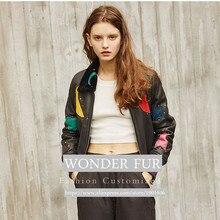 Punk Style Real Fur & Skin Coat Real Lamb Fur Appliques Motorcycle Jacket Guc**i Design Stars Real Merino Sheep Fur Jacket