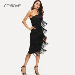 784dce845e08 COLROVIE Black Solid Sleeveless Tassel Slim Women Dress 2018 One Shoulder  Tiered Fringe Summer Dress Sexy Bodycon Party Dress