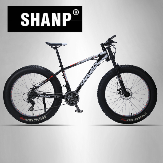 "LAUXJACK Mountain Bike Aluminum Frame 24 Speed Shimano Mechanical Brake Fat Bike 26""x4.0 Wheel  Long Bicycle Fork"