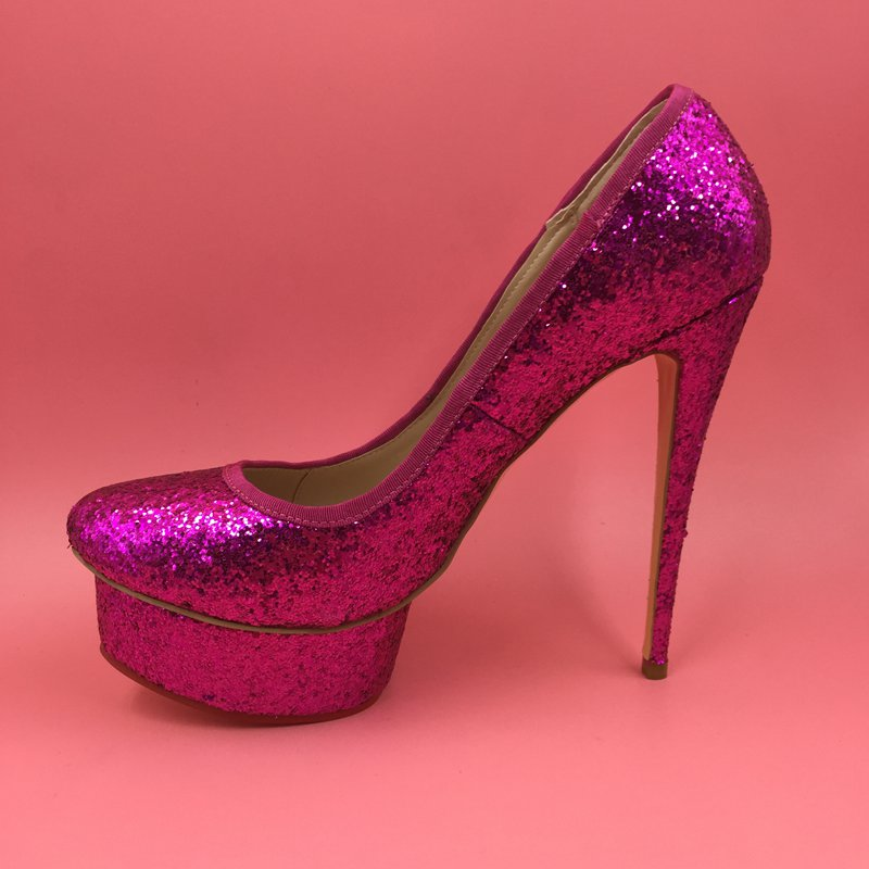 8d1450a03f7c2 Hot Pink Sequin Women Pumps Customized Gold Silver Purple