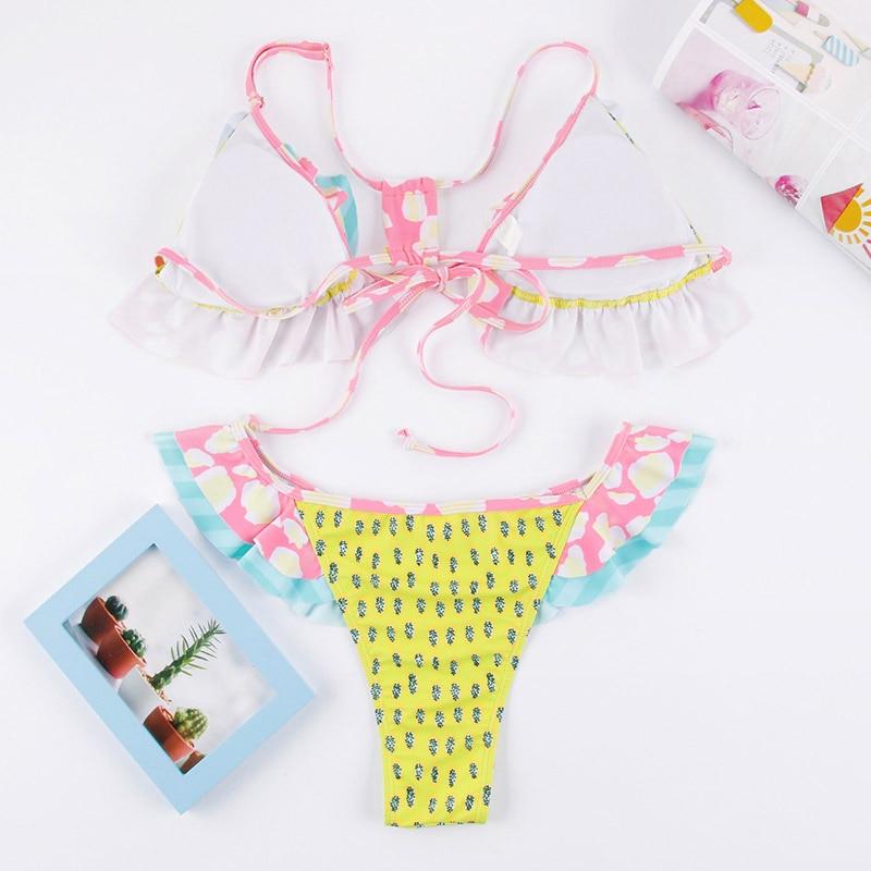 HTB1R.gGa3FY.1VjSZFqq6ydbXXaC Miyouj Floral Bikini Bandage Bow Swimsuit Push Up Swimwear Women Print Biquini Feminino 2018 Bathing Suit Monokini Bikini Set