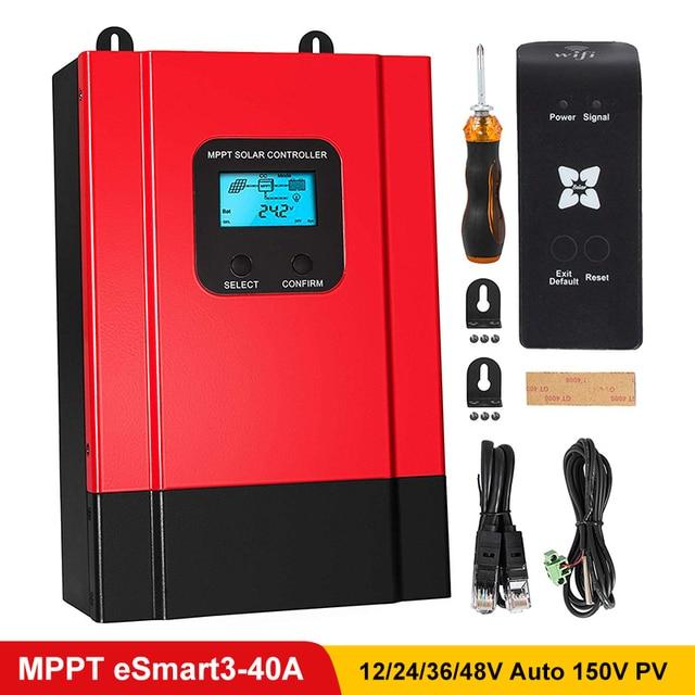 Esmart3 mppt 40a 솔라 충전 컨트롤러 최대 150vdc 입력 백라이트 lcd 솔라 레귤레이터 rs485 포트 (lcd12v 24 v 36 v 48 v 자동 포함)