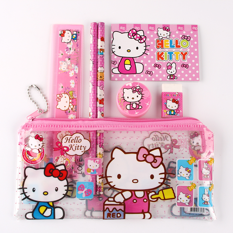 1 set hello kitty pencil case for kids sticker cute cartoon school supplies stationery kawaii pencil cases for girls gift