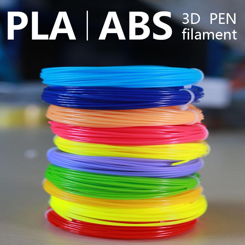 20 cores brilhante cor 3d caneta filamento 1.75mm 3d filamento abs/pla natural degradação filamento transporte rápido dentro de 24 horas