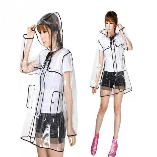 246d8ea48 US $11.95  2019 New Fashion Women's Transparent PVC Plastic Girls Raincoat  Travel Waterproof Rainwear Adult Girls Poncho Outdoor Rain Coat-in ...