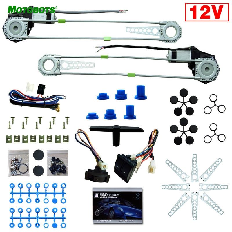 MOTOBOTS 1Set 12V Universal Front 2-Doors Car Auto Electric Power Window Kits With Set Switches And Harness #FD-905