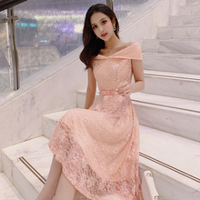 Lace Dress 2019 Short Sleeve Blouses Shirt Bow strap Dinner Pink Apricot Fashion One word collar Women dress 950F3