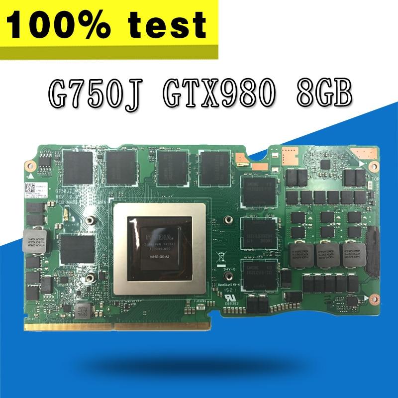G750J Vidéo Carte REV2.0 GTX980 8g Pour ASUS G750J G750JY G750JYA G750JYA-MXM mère D'ordinateur Portable G750J VGA CARTE Graphique Vidéo carte