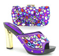 Purple Color African Shoe And Bag Set With Stones To Matching Nigeria Wedding Shoes With Match Bag Set For Prom Size 37-43 TT02