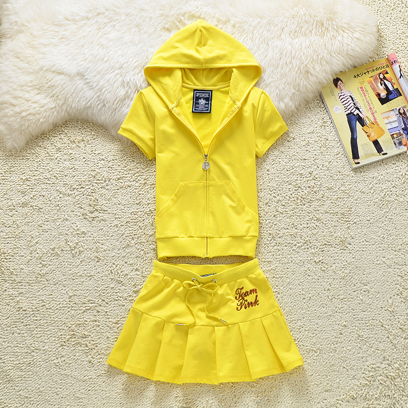 Summer Hooded Tops and Mini Skirt Set Letter Patterned Tracksuit Casual Sweat Suits for Girls S