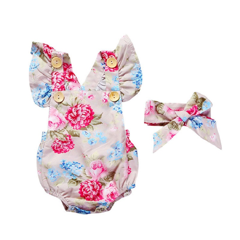 2 pieces / set 2017 Newborn Baby Girl Summer Sleeveless Slippers Halter Womens Beach Suit Floral Bebes Costumes Clothes
