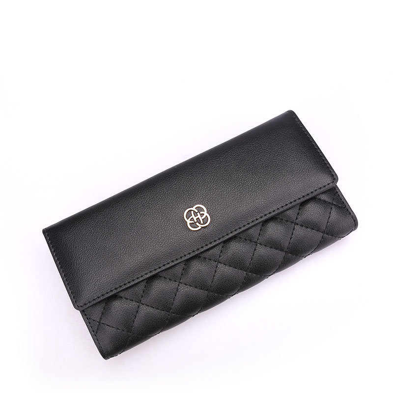 New women Genuine Leather wallets long coin purse Korean simple clutch purse tri-fold multifunctional credit card holder