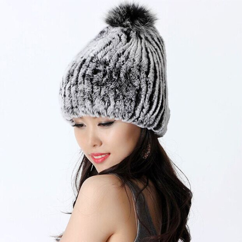 Autumn and Winter Women s Genuine Rex Rabbit Fur Hats with Fox Fur Ball Female Warm