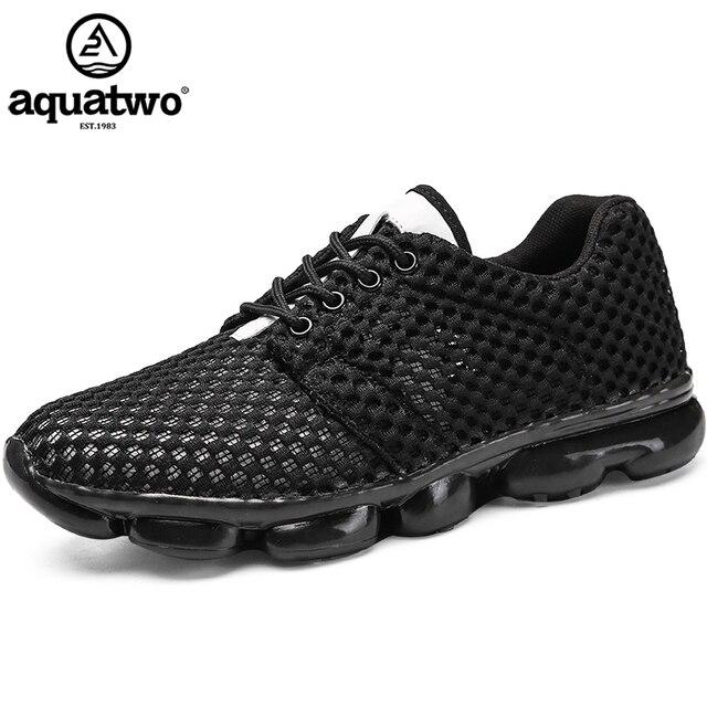 AQUA два Для мужчин кроссовки черный Air обувь Открытый Спорт Спортивная полный Air амортизацию белые туфли мужской из сетчатого материала летние кроссовки