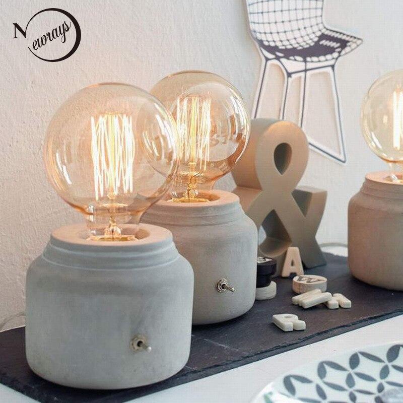 modernmini funny grey concrete cement bedside table lamp for bedroom desk lamp e27
