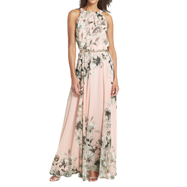 aa6b330bb81e 2018 Sexy Women Chiffon Long Dress Floral Print Round Neck Sleeveless Party Dresses  Boho Maxi Dress Pink Summer Beach Sundress