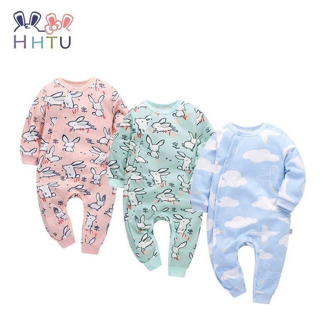 HHTU 2017 New Arrivals Baby Rompers Cotton Baby Boys Girls Clothing Long Sleeve Infant Jumpsuits Newborn Rabbit Pink Blue Autumn