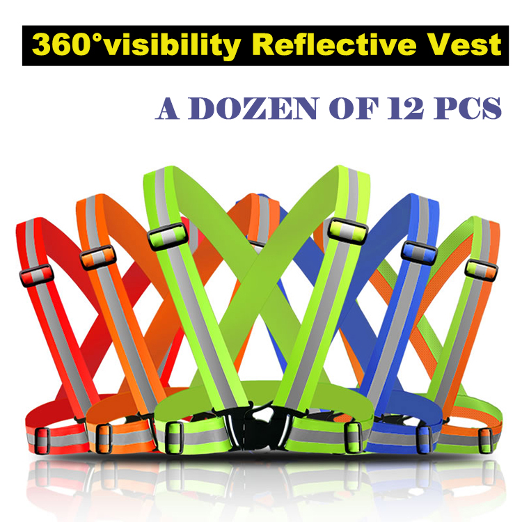 A dozen of 12 pcs Reflective Safety Vest belt Security Reflective Strips waistcoat belt for outdoor working running jogging high quality safe reflective vest belt for women girls night running jogging biking