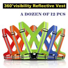 A dozen of 12 pcs Reflective Safety Vest belt Security Reflective Strips waistcoat belt  for outdoor working  running jogging