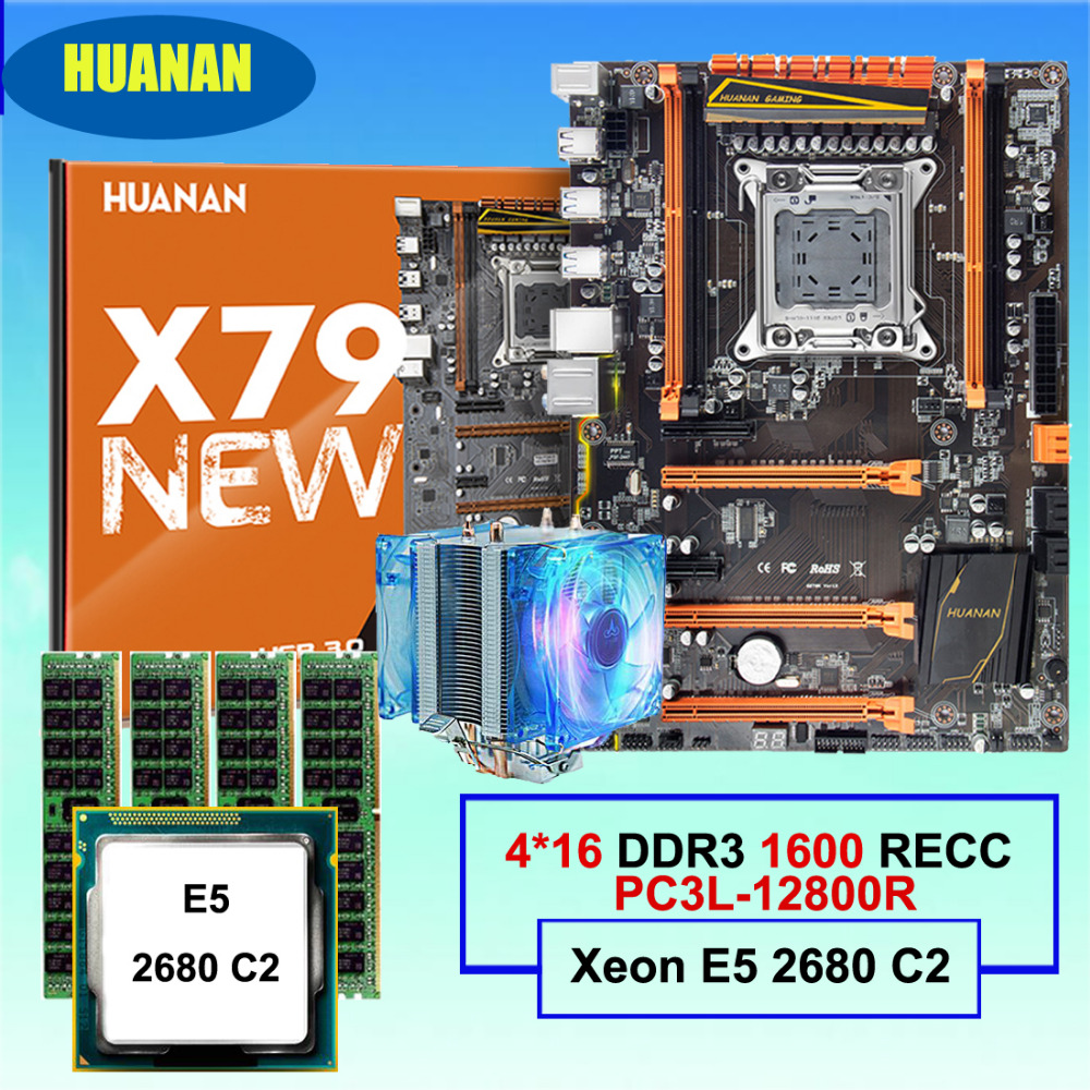 Computer supply DIY HUANAN ZHI deluxe X79 gaming motherboard Intel Xeon E5 2680 C2 with cooler RAM 64G(4*16G) DDR3 1600MHz RECC цена