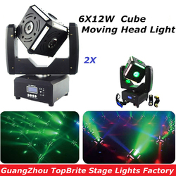 Free Shipping Hot Sales 2XLot Newest 6x12W CREE RGBW 4in1 LED Cube Moving Head Light Great Show Effect DJ Disco Night Club Party