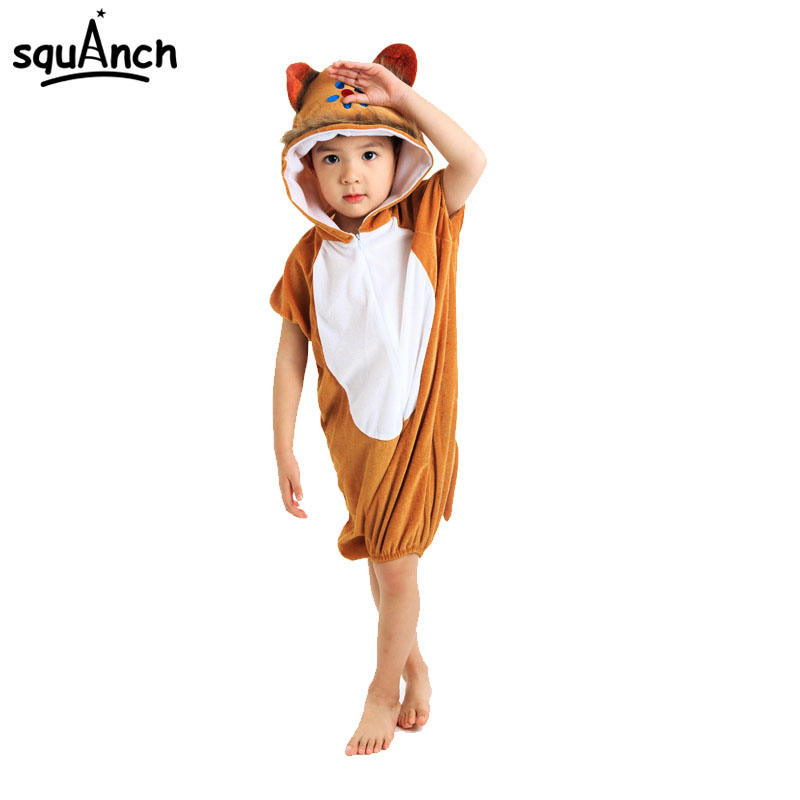 Cartoon Brown Monkey Pajama Kids Halloween Festival Animal Cosplay Costume Short Sleeve Party Suit Children Boy Girl Sleep Wear