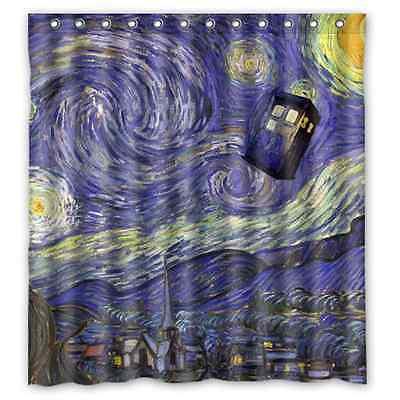 Custom Bathroom Decor Police Box Tardis Doctor Who Starry Night Waterproof Polyester Fabric Shower Curtain Big