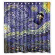 Custom Bathroom Decor Police Box Tardis Doctor Who Starry Night Waterproof Polyester Fabric Shower Curtain Big Size