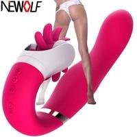 12 Speed Rotation Oral Sex Tongue Licking Toy G Spot Dildo Vibrators for women Vibrating Clitoris Stimulator Sex Toys Q12