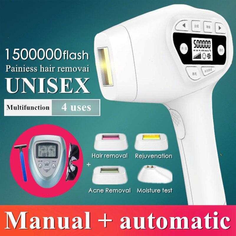 1500000 flash IPL laser macchina di rimozione dei capelli del laser di rimozione dei capelli epilatore permanente bikini trimmer depilador elettrico laser delle donne