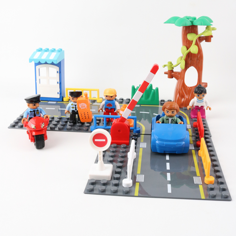 Big Size Duploe Highway Figures Policeman Car Motorcycle Building Blocks Kids Toys Traffic Signs Bricks Compatible With Duploed Soft And Antislippery