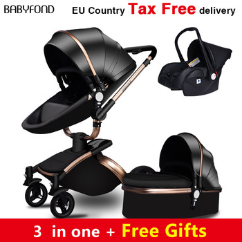 Babyfond 3 in 1 Luxury EU baby stroller leather two-way shock absorption carriage brand baby 2 in 1 pram gold brown free gifts