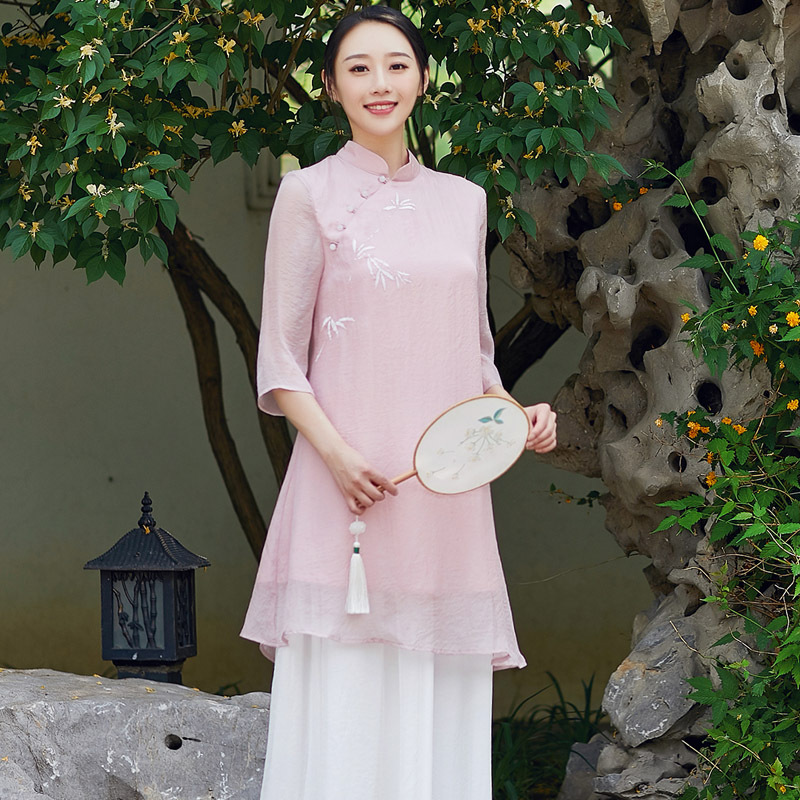 Stand up Collar Pearl Buttons Bamboo Hand painted Pink Red Chinese style Cotton Linen Jacket Dress Women