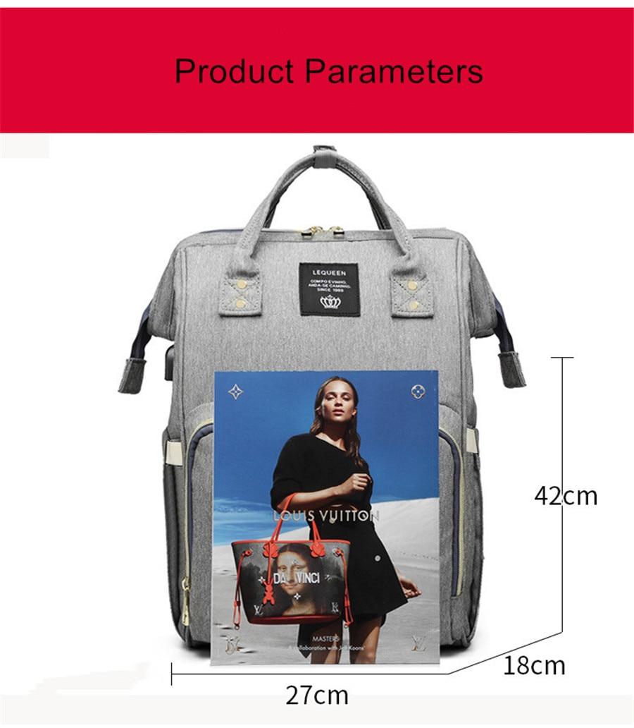 HTB1R.iKThTpK1RjSZFMq6zG VXab LEQUEEN USB Diaper Bag Baby Care Backpack for Mom Mummy Maternity Wet Bag Waterproof Baby Pregnant Bag