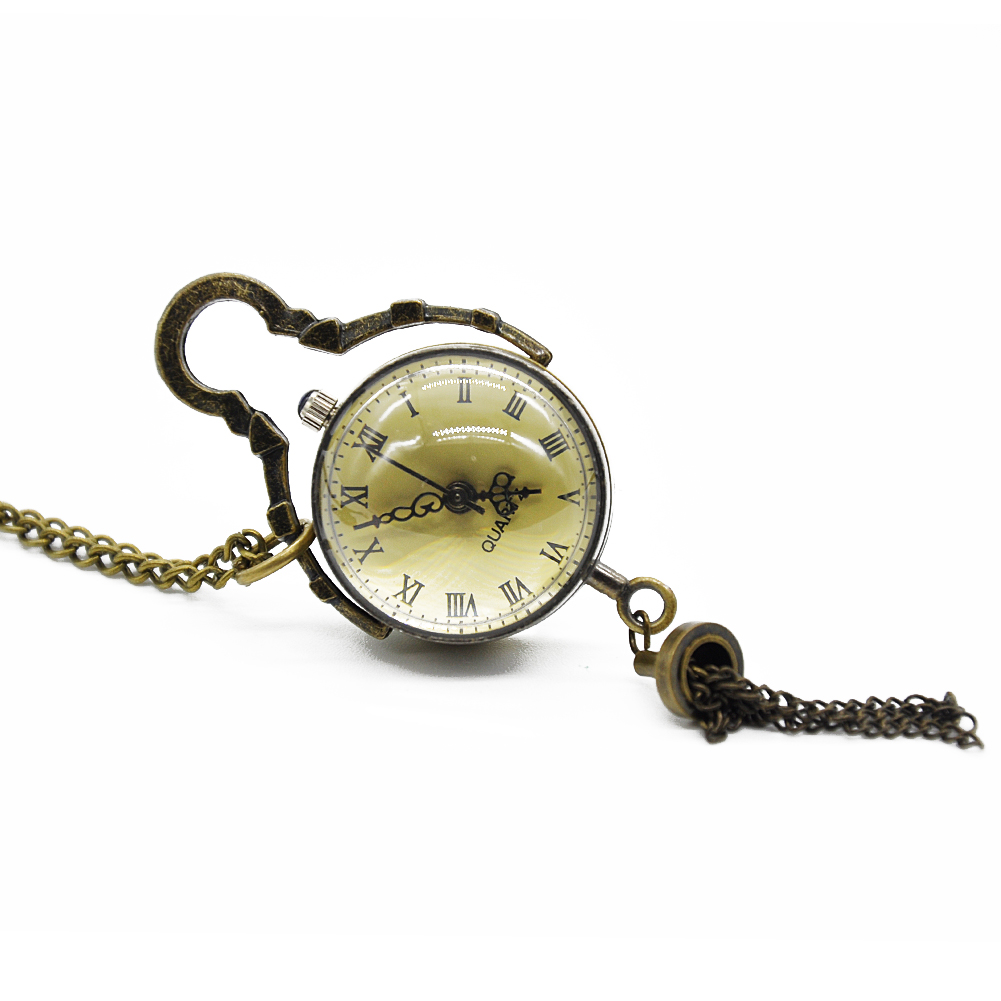 New Vintage Copper Color Roman Numbers Ball Shape Pocket Watch Quartz Pocket Watch Pendant With Chain Unisex Gift