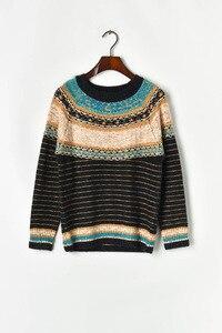 Image 4 - Runway Womens sweater sets 2019 Autumn Lurex Striped Loose Pullver Sweater + High Waist Mini Knitted skirt Women 2 piece Set