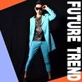 2016 Nova Moda Lindo Céu Azul blazers Longos dos homens Cantor Bar Boate DS trajes DJ Stage show desempenho acessórios