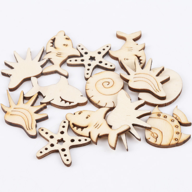Natual Ocean Animal Pattern Wooden Scrapbooking Art Collection Craft For Handmade Accessory Sewing Home 25mm 20pcs MZ170