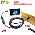 """5.5 MM 2 M lente de la cámara Cable USB impermeable 6 LED Android del endoscopio 1/9 """" CMOS Mini USB de inspección cámara endoscopio espejo del regalo"""