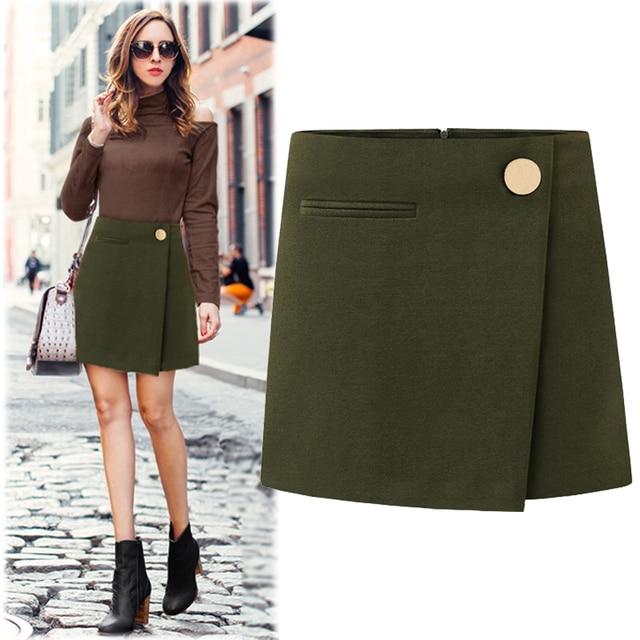 1313652200094 High Waist Women Mini Skirts Ladies Autumn Winter Fashion Casual Woolen  Skirt Plus Size Vintage Work OL Formal A-Line Skirts