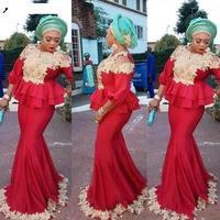 Русалки muslime вечерние платья 2019 атласное с золотым длинные рукав с накладной аппликацией вечерние платья красные платья для выпускного