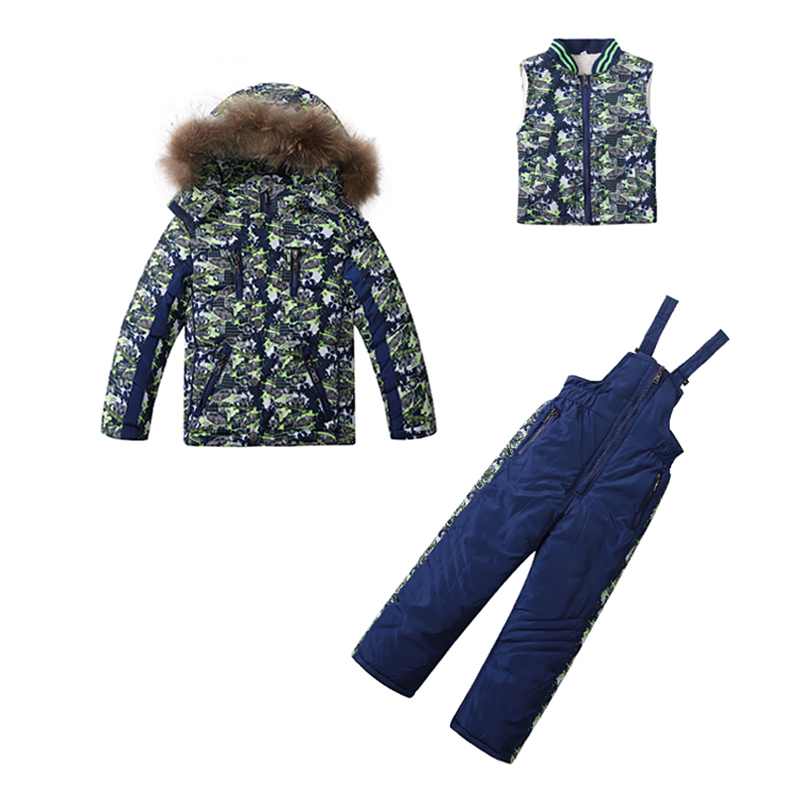 Children winter clothing set thick warm down windproof ski jackets+pant kids winter snow sets boys outdoor warm suit