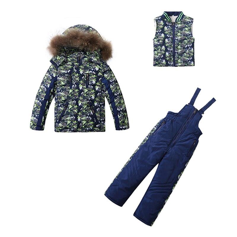 Enfants hiver vêtements ensemble épais chaud vers le bas coupe-vent vestes de ski + pantalon enfants hiver neige ensembles garçons en plein air chaud costume
