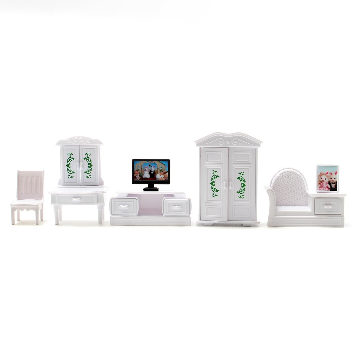 Aliexpress Buy New DIY White Living Room Set Plastic Doll House Miniatures Furniture Sets Kits Toy Home Decor Kids Birthday Gifts From Reliable