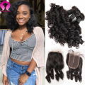 Loose Curly Virgin Hair With Closure Aunty Funmi Hair With Closure 8A Brazilian Virgin Hair 4 Bundles With Closure Curly Hair